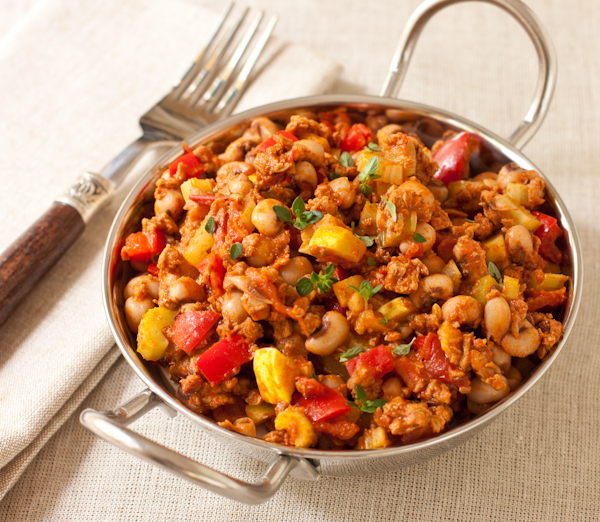 Sausage and Black-Eyed Pea Hash, a Cooking Light recipe renovation by Recipe Renovator