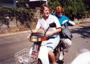 Natalie and me on her scooter