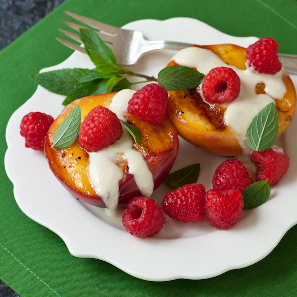 Grilled Peaches with cardamom-honey cream