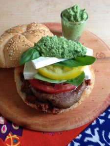 Veggie Caprese burger by California Greek Girl for Dog Days of Summer