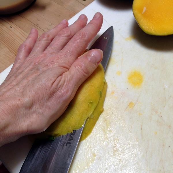 Cutting mango for Mango Salad