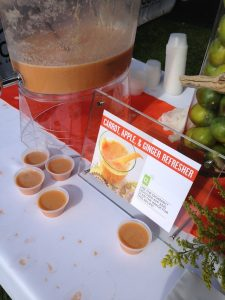 Delicious healthy drinks at the Finisher's Pavilion, Fit Foodie Race