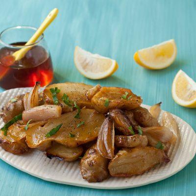 Honey-roasted sunchokes with shallots and Meyer lemon