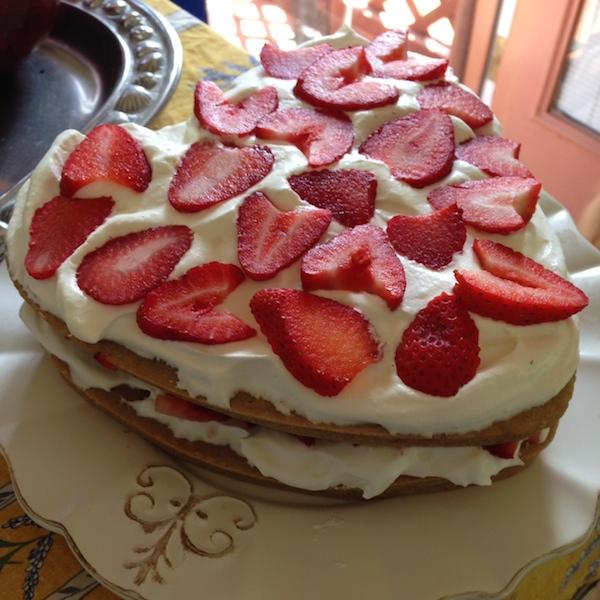 Heart-shaped summer celebration cake on Recipe Renovator