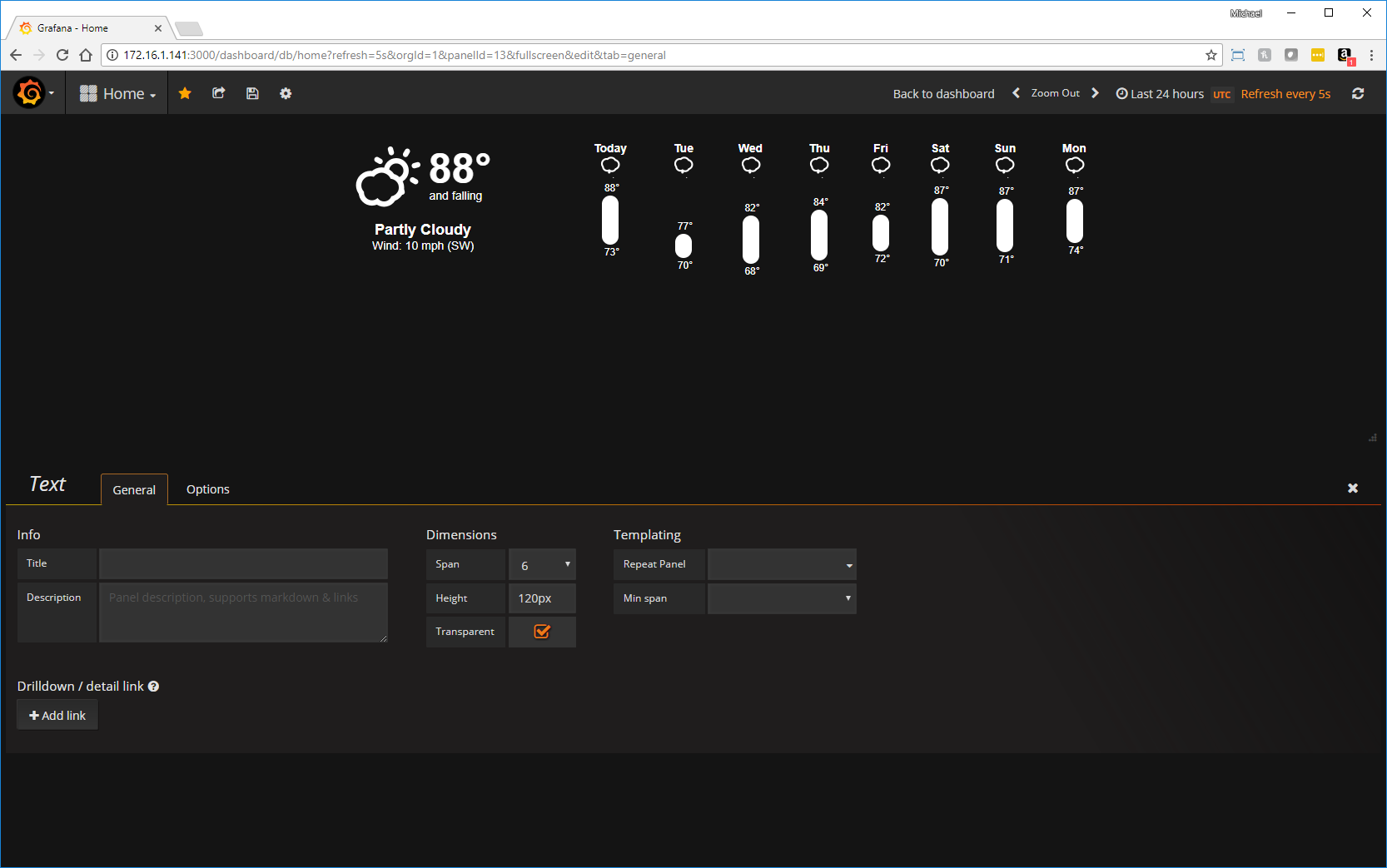Adding Live Weather to Your Grafana Home Dashboard