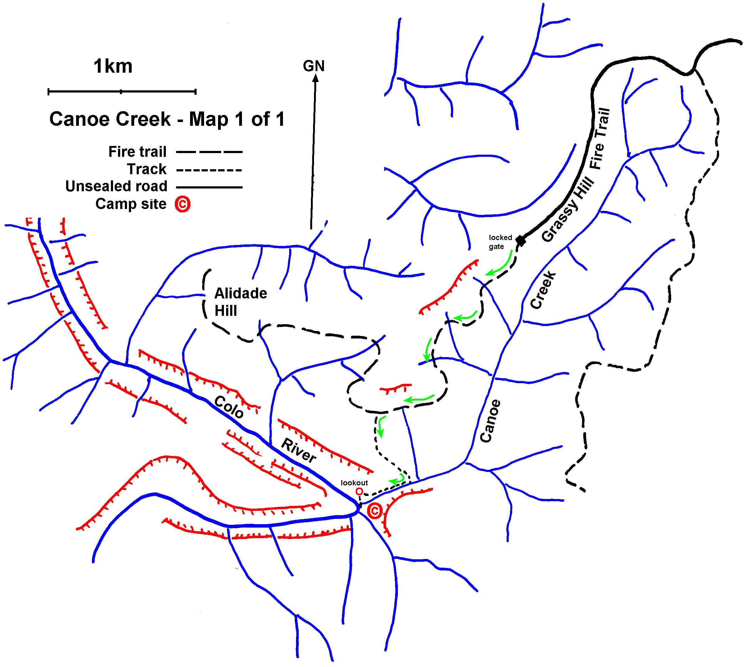 Canoe Creek Th Nov MileStepper Trip Plan - Colo river map