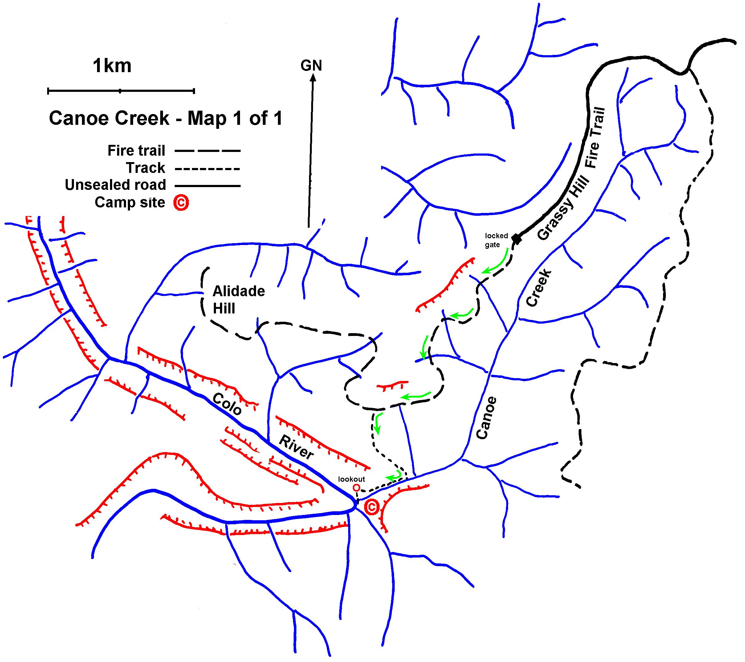 Canoe Creek Th Nov MileStepper Trip Plan - Colo river map