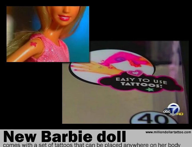 The New Barbie Doll Comes With A Set Of Tattoos That Can Be