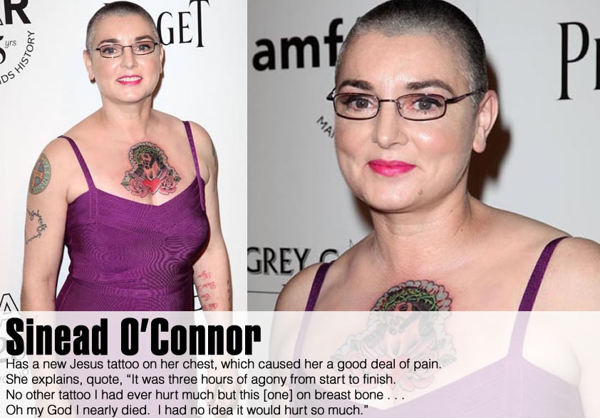 Sinead O'Connor has a new Jesus Tattoo on her Chest