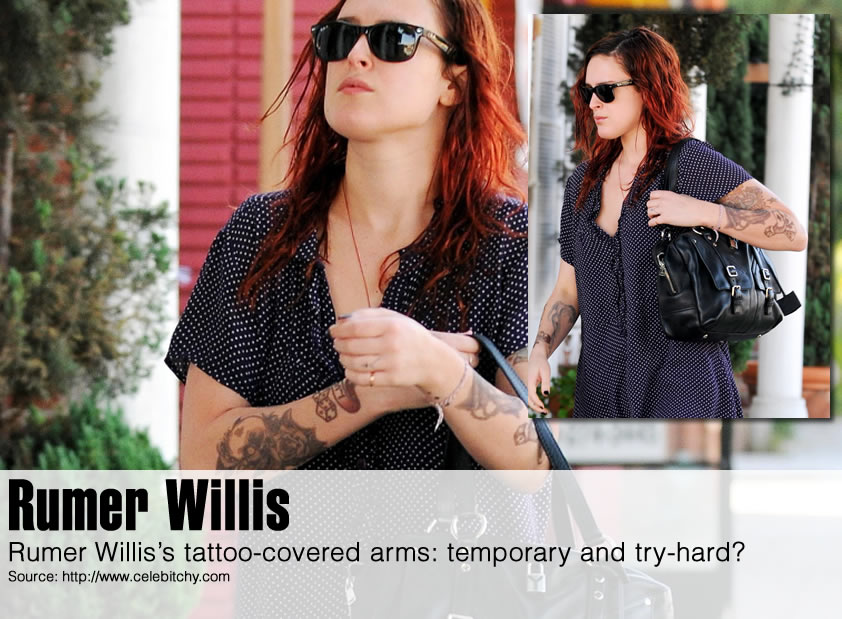Rumer Willis's tattoo-covered arms: temporary and try-hard?