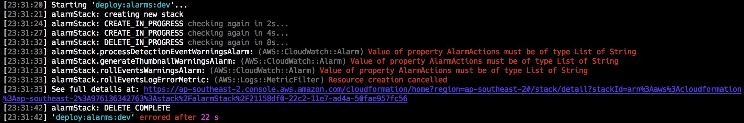 Example console error output