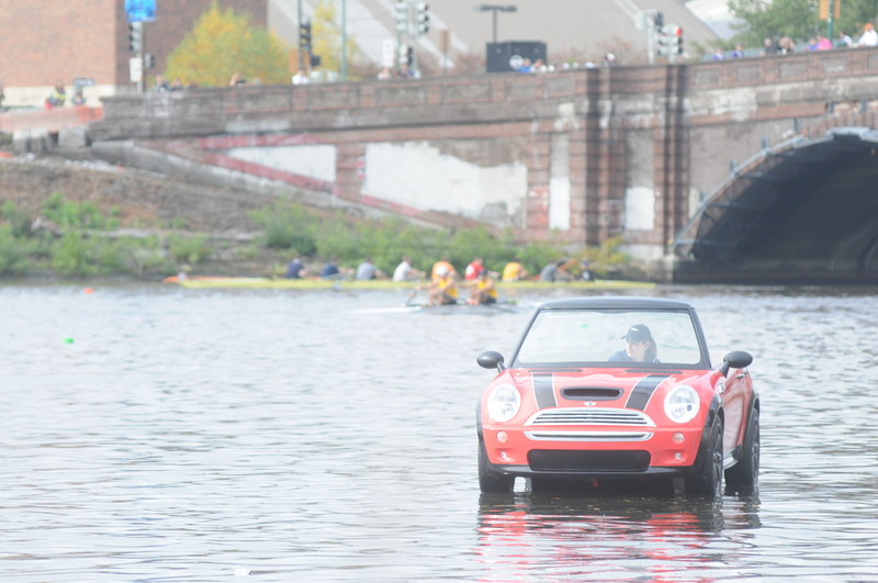 MINI Convertible boat at the Head of the Charles Regatta in Cambridge, Mass. Oct 20-21, 2012.<br />
