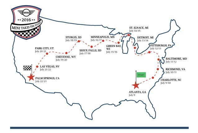 MINI USA ANNOUNCES OFFICIAL ROUTE FOR MINI TAKES THE STATES 2016