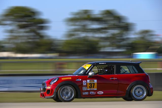 The MINI John Cooper Works #37 car at Sebring International Raceway in Sebring, Florida. Photo credit: Foster Peters Photography