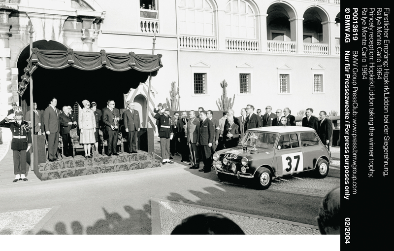 Princely reception: Hopkirk/Liddon taking the winner trophy, Rallye Monte Carlo 1964 (01/2004)<br />