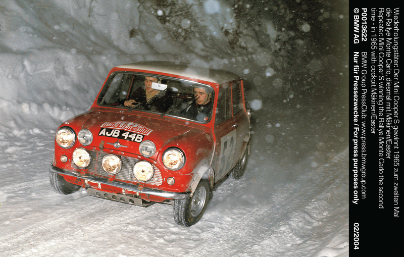 """""""Repeater: Mini Cooper S winning the Rallye Monte Carlo the second time – in 1965 with cockpit Mäkinen/Easter"""" (01/2004)<br />"""