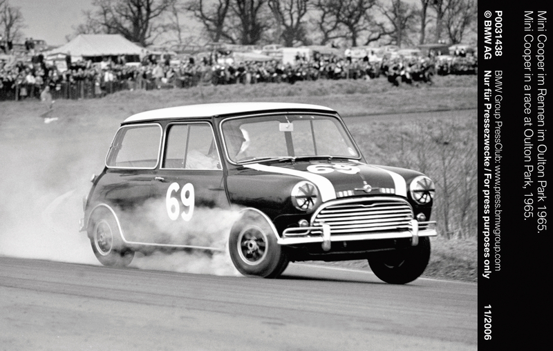 Mini Cooper in a race at Oulton Park, 1965 (11/2006)<br />
