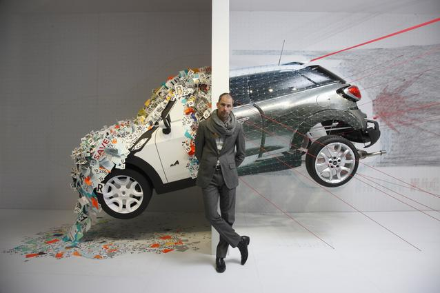 MINI KAPOOOW! installation. Salone del Mobile 2013. Anders Warming, Head of MINI Design, in front of the installation (04/2013)