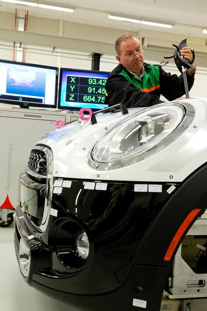 A solid aluminium car body is used for measurement reference points.