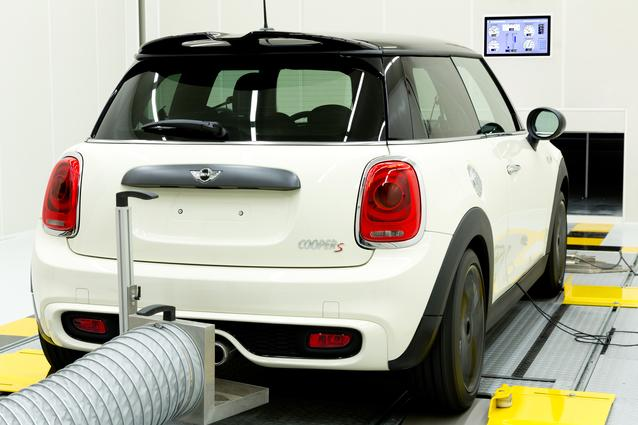 A MINI is tested in the new acoustic testing chamber.