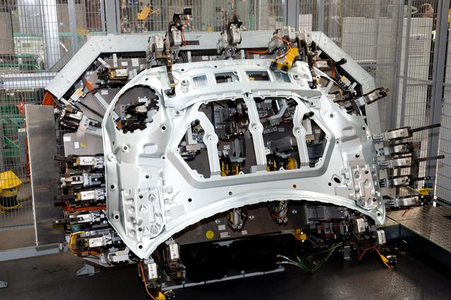 The bonnet cell in sub assembly, MINI Plant Swindon, where the bonnets are constructed.