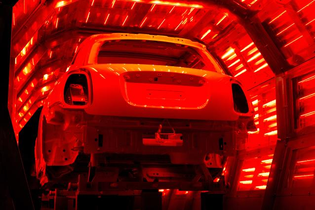 The MINI's new paint being baked in the oven at Plant Oxford's paintshop.