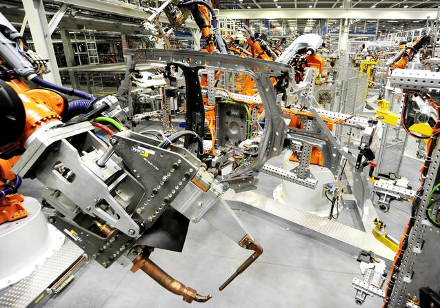 Robots welding the side frame for the new 4-door MINI in Plant Oxford's bodyshop.