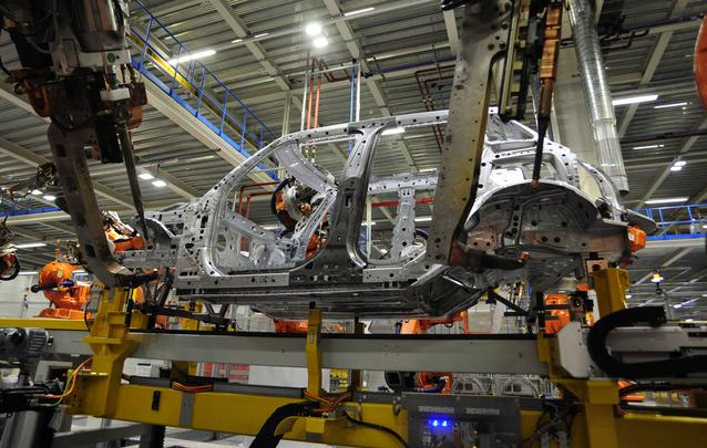 The bodyshell of the new 4-door MINI as it goes through Plant Oxford's bodyshop.