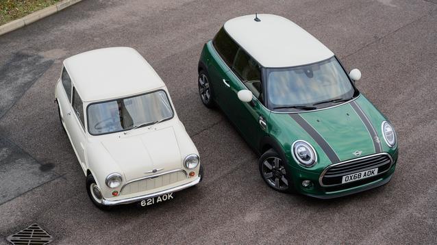 1959 Morris Mini-Minor and MINI Cooper 60 Years Edition 3 Door. (01/2019)<br />