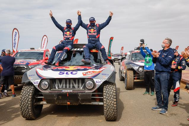 Munich (GER), 15th January 2021. Dakar Rally, MINI Motorsport, X-raid, Saudi Arabia, MINI John Cooper Works Buggy, Stéphane Peterhansel, Edouard Boulanger.<br />