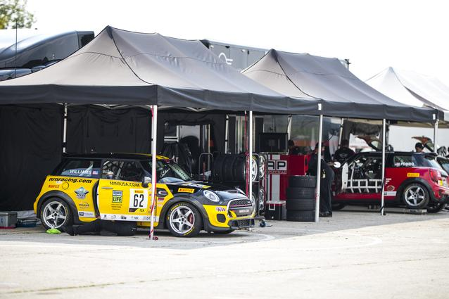 The MINI JCW Team hit the track for the SRO TC America race weekend at Road America. Photo Credit: Images courtesy of the MINI JCW Race Team/LAP Motorsports LLC via Halston Pitman.