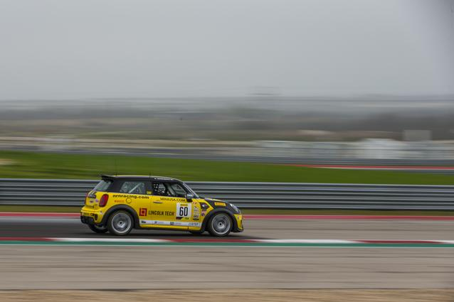 The #60 Lincoln Tech MINI JCW at Circuit of the Americas.