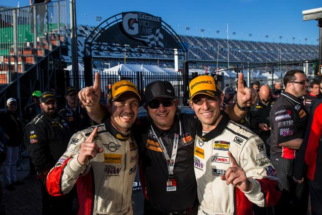 Left to Right: Derek Jones, Luis Perocarpi and Mat Pombo celebrate in victory lane.Photo Credit: Images courtesy of the MINI JCW Race Team/LAP Motorsports LLC via Halston Pitman.