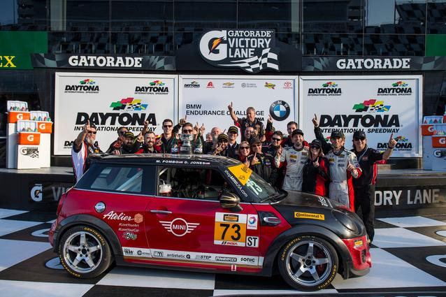 The MINI JCW Team celebrates in victory lane at Daytona International Speedway. Photo Credit: Images courtesy of the MINI JCW Race Team/LAP Motorsports LLC via Halston Pitman.