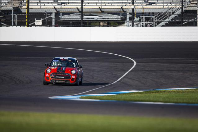 The MINI JCW Team hits the track for the SRO TC America season finale at Indianapolis Motor Speedway. Photo Credit: Images courtesy of the MINI JCW Race Team/LAP Motorsports LLC via Halston Pitman.
