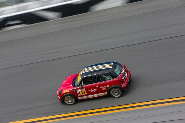 #73 MINI JCW takes the high banks of Daytona International Speedway. Photo Credit: Images courtesy of the MINI JCW Race Team/LAP Motorsports LLC via Halston Pitman.