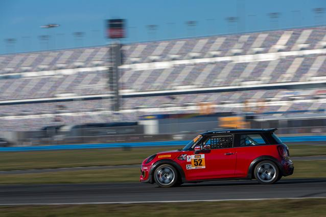 #52 MINI JCW tests during the Roar Before the Rolex 24 at Daytona International Speedway. Photo Credit: Images courtesy of the MINI JCW Race Team/LAP Motorsports LLC via Halston Pitman.