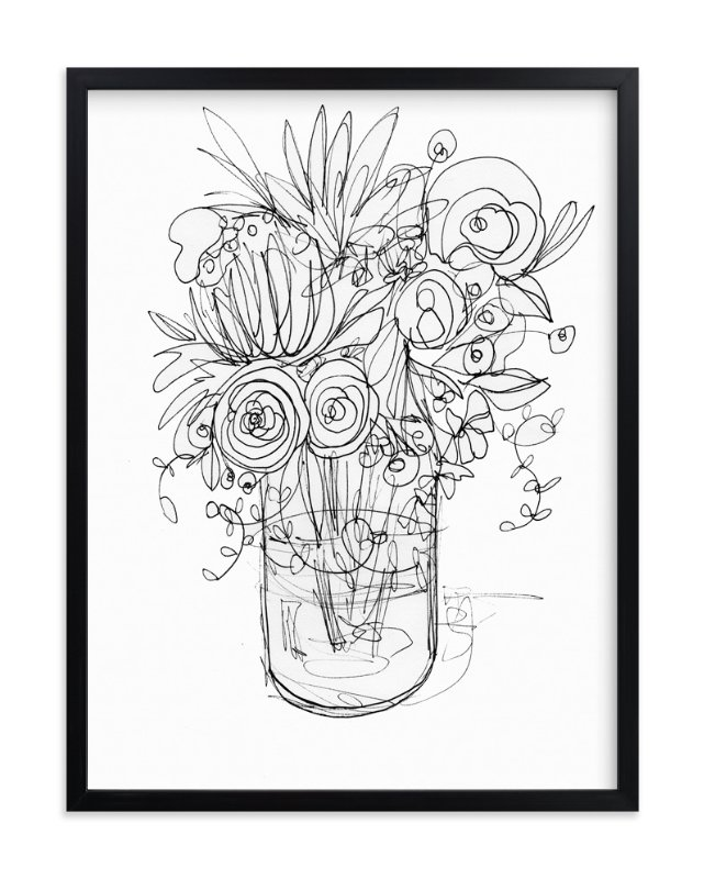 """""""Sketchbook bouquet II"""" - Limited Edition Art Print by Kiana Mosley in beautiful frame options and a variety of sizes."""