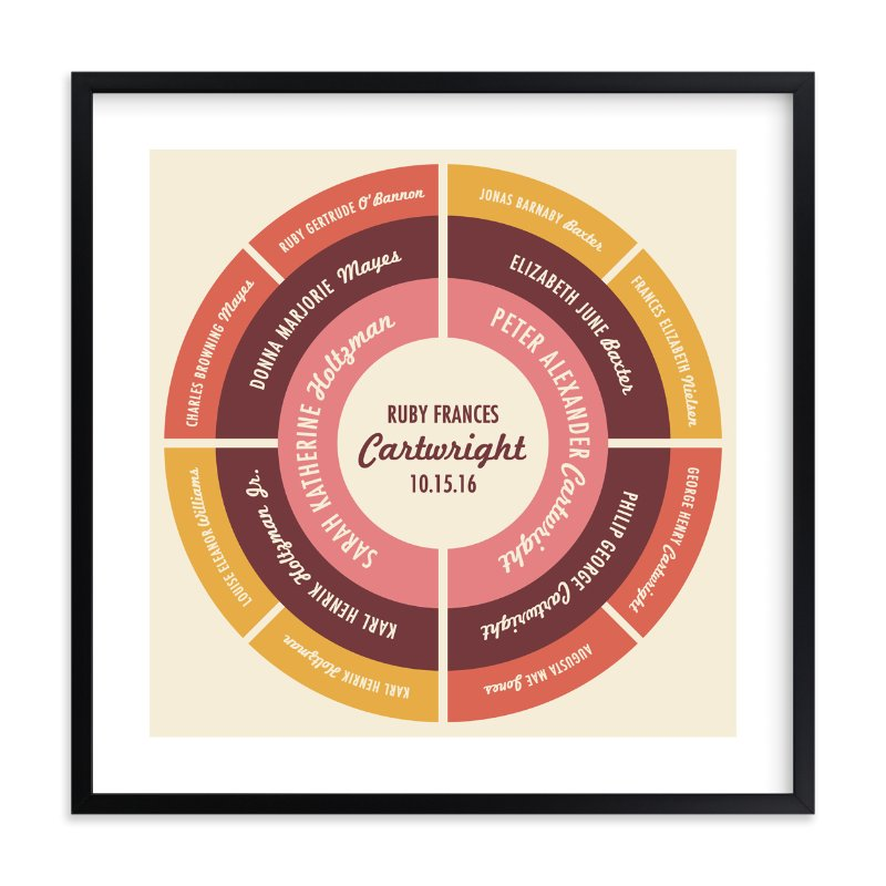 """Family Circle"" - Family Tree Custom Art Print by Olivia Raufman in beautiful frame options and a variety of sizes."