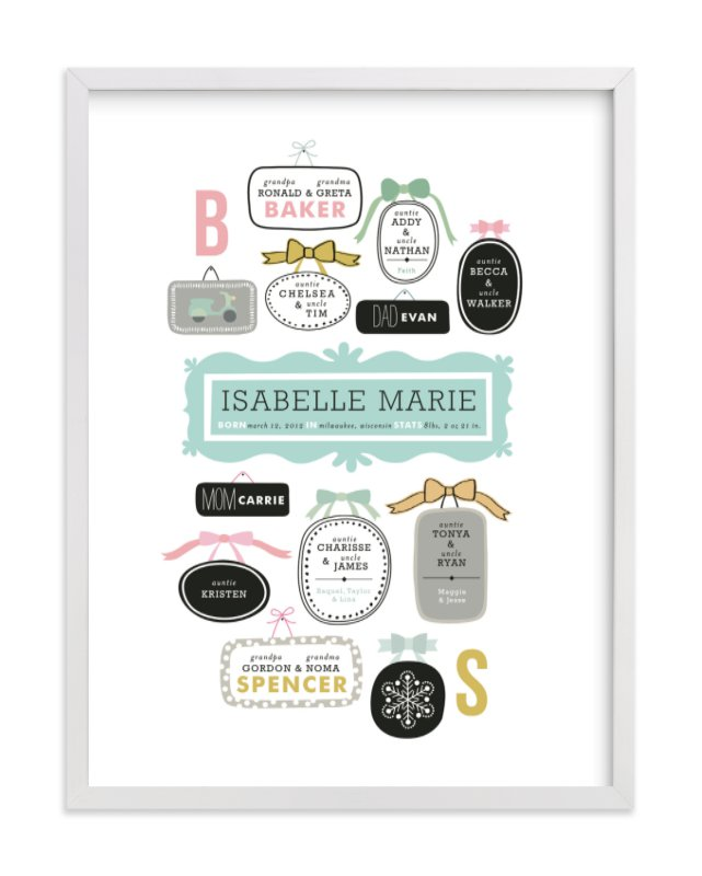 """""""Wall Hanging"""" - Family Tree Custom Art Print by Alethea and Ruth in beautiful frame options and a variety of sizes."""