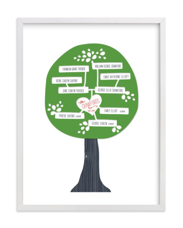 """""""Paper Tree Carving"""" - Family Tree Custom Art Print by Alston Wise in beautiful frame options and a variety of sizes."""