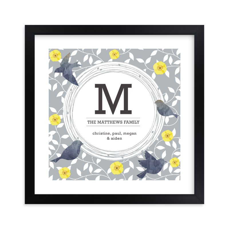 """Watercolor Birds Monogram"" by Bella Expressions-Linda Birtel in beautiful frame options and a variety of sizes."