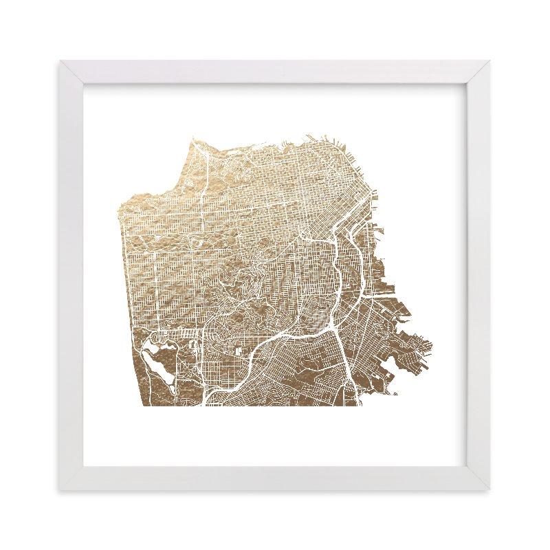 San Francisco Map Foil-Pressed Wall Art by Alex Elko Design | Minted