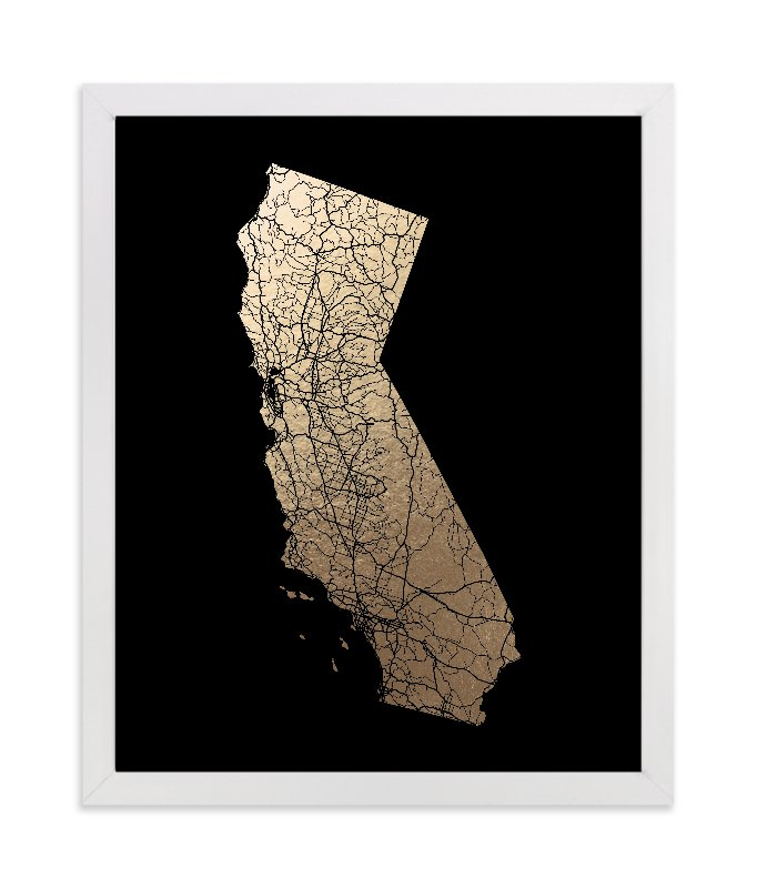 """""""California Map Filled"""" - Foil-pressed Art Print by GeekInk Design in beautiful frame options and a variety of sizes."""