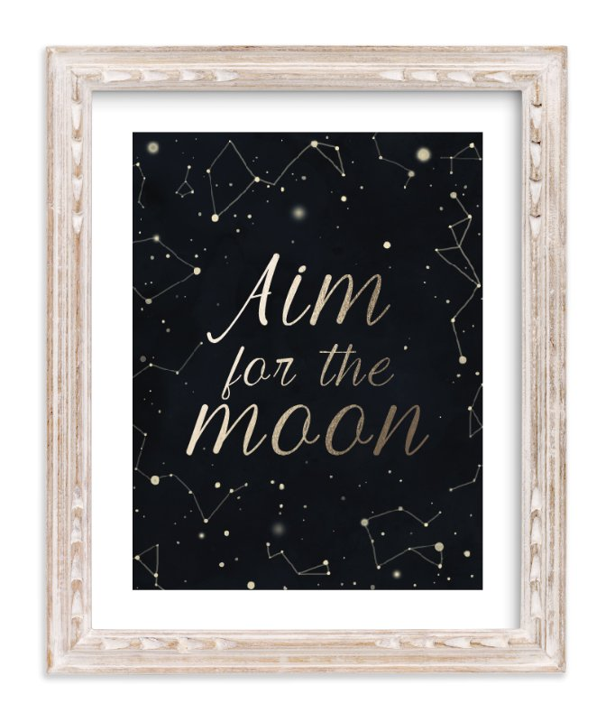 """""""Aim for the moon"""" - Foil-pressed Art Print by Yeye62 in beautiful frame options and a variety of sizes."""