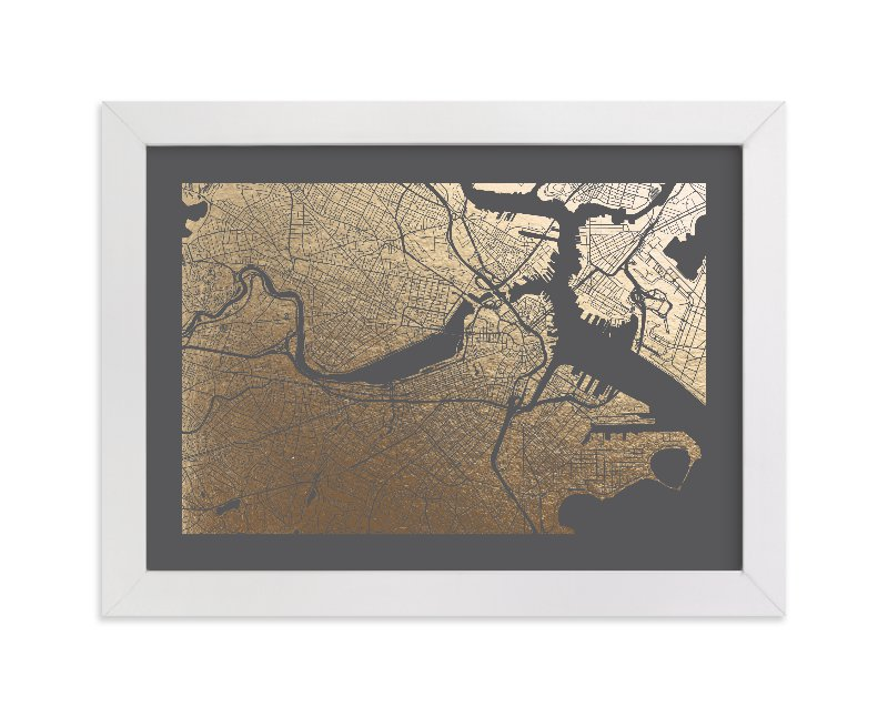 Boston Map Foil Pressed Wall Art By Alex Elko Design | Minted