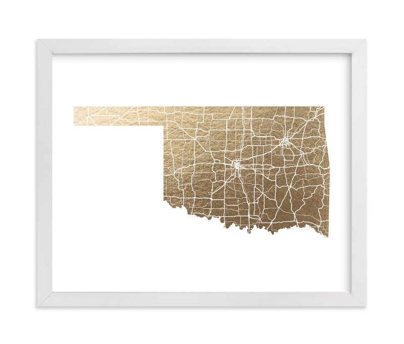 """""""Oklahoma Map"""" - Foil-pressed Art Print by GeekInk Design in beautiful frame options and a variety of sizes."""