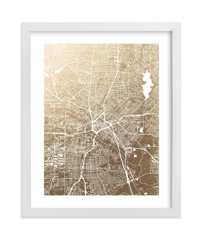 """""""Dallas Map"""" - Foil-pressed Art Print by Alex Elko Design in beautiful frame options and a variety of sizes."""
