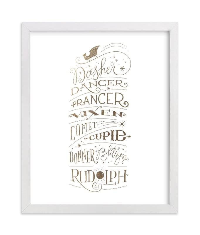 """""""Reindeer Names"""" - Foil-pressed Art Print by Jennifer Wick in beautiful frame options and a variety of sizes."""