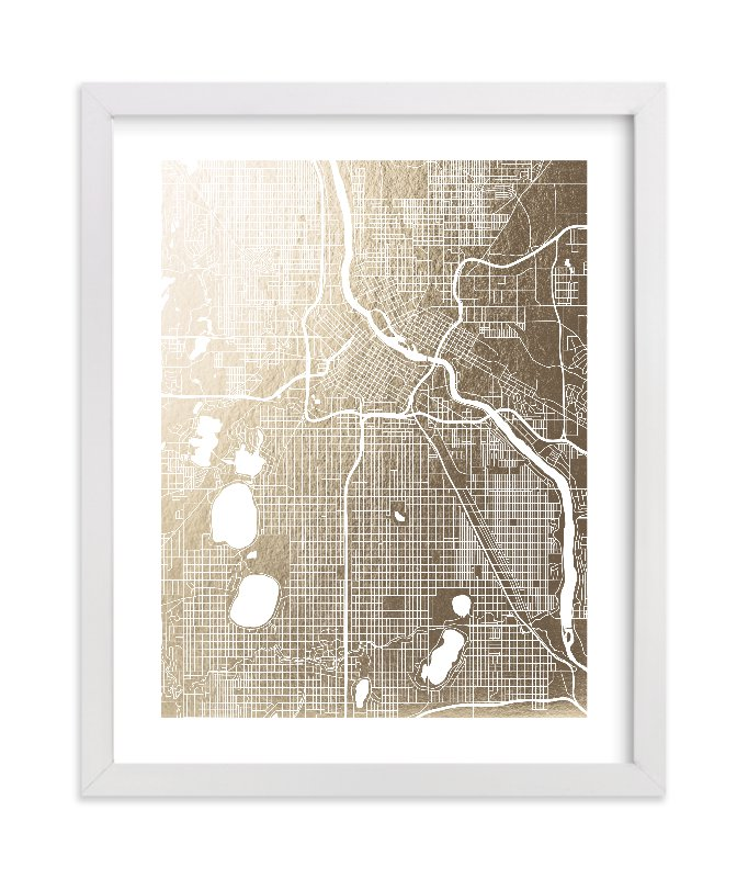 """""""Minneapolis Map"""" - Foil-pressed Art Print by Yours Madly in beautiful frame options and a variety of sizes."""